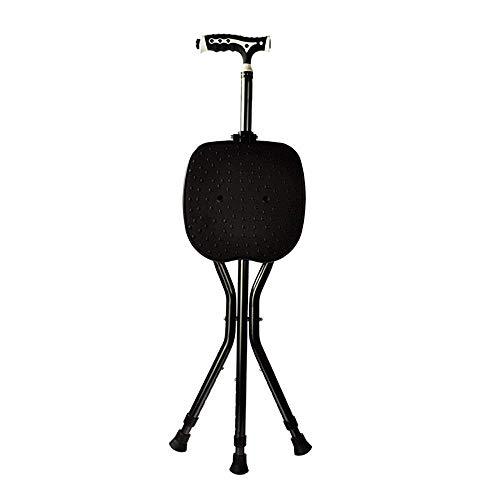 Dreibeinige Hocker Krücke Cane Seat Stick Mit LED-Licht, Verstellbare Klapp Walking Cane Massage Stuhl Portable Fishing Rest Hocker Für Ältere -