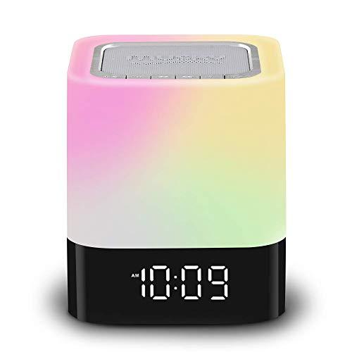 Nachtlicht Bluetooth-Lautsprecher, LED Wake-up Light Nachttischlampe Dimmbar Sensor Berühren, Digitalwecker Drahtloser Lautsprecher Schreibtischlampe, Geeignet für Kinder, Schlafzimmer, Camping