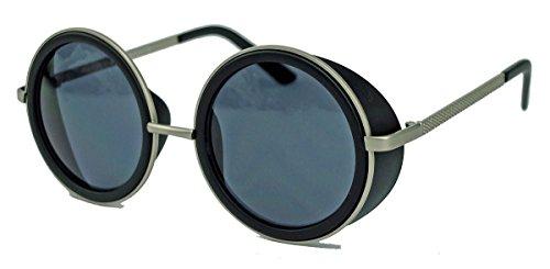 Retro Sonnenbrille wie Vintage Gletscherbrille Lennon Steampunk sunglasses rund VLD60 (Matt Schwarz) (Men's Alpine Kostüm)