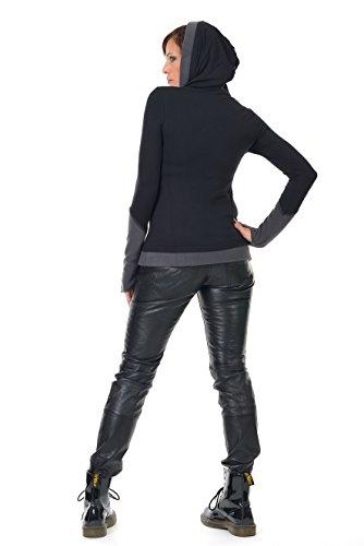 Winterpulli Hoodie Damen Pullover Herbst Winter Kleidung Daumenloch Mode 3Elfen, Kapuzenpulli Frauen schwarz grau S - 4
