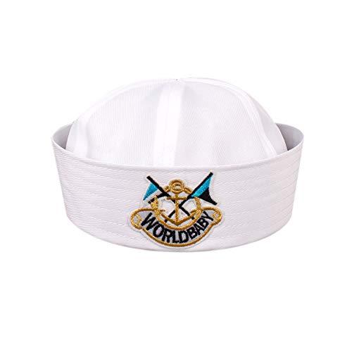 Weiß Navy Hut Kappe Sailors Schiff Boots-Kapitän Militär-Hut Marine-Uniform Cap Stage Performance-Hut Für ()