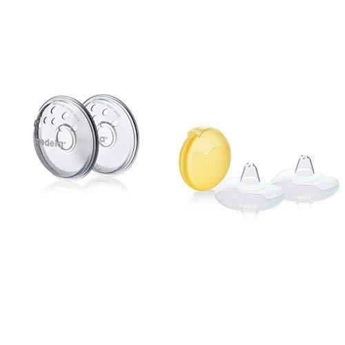 MEDELA Modellatori del Capezzolo, Confezione da 2 Pezzi + Cappelletti per il Seno Contact, M, Confezione da 2 Pezzi