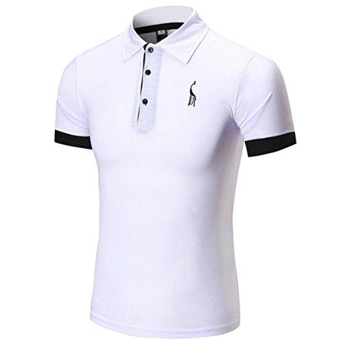 [M-2XL], Yogogo T-Shirt Herren Sommer Geschäft Premium Poloshirt Kurzarm Shirt V-Ausschnitt T-Shirt Sport Muskelshirt Crop Tops Oberteile Basic Tops Herren Slim Fit Regular Fit T-Shirt (XL, Weiß)