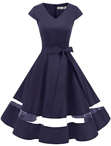 Gardenwed 1950er Vintage Retro Rockabilly Kleider Petticoat Faltenrock Cocktail Festliche Kleider Cap Sleeves Abendkleid Hochzeitkleid Navy L