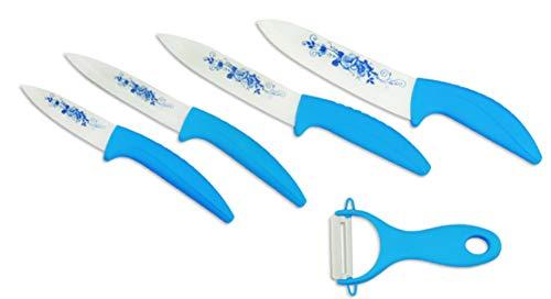 EwigYou Keramikmesser-Set 2/4 Keramikmesser und 1 Sparschäler Allzweckmesser Küchenmesser mit Schutzhülle Messer mit Blumenmuster