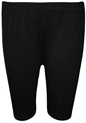 WearAll Womens Plus Size Plain Elasticated Knee Ladies Stretch Cycling Shorts - Sizes 16-26 by WearAll