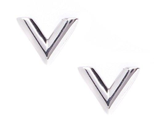 Happiness Boutique Damen Ohrringe Silber V Form | Ohrstecker aus Titan V Design Minimalist Style (Chic Kostüm Minimalistischen)