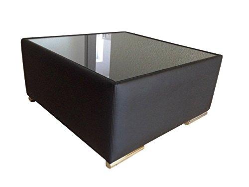 Leder-wohnzimmer-tisch (Design Luxus Tisch Lounge Sofa Couch Polster Tisch Leder Schwarz Glas SL26 NEU!)