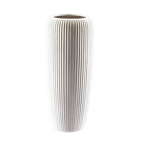 knuellermarkt.de Große Keramik-Vase gerillt matt weiß ca. 40 cm Blumenvase Übertopf Hochzeit Deko (Große Keramik Vasen)