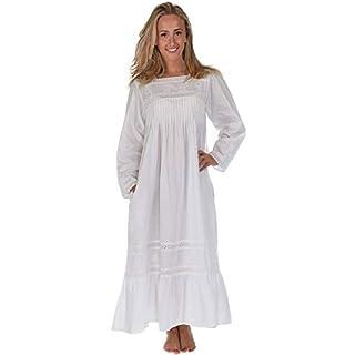 Inconnu The 1 for U 100% Cotton Style Victorien Robe de Nuit avec Poches - Violet- XS - XXXL - Blanc, XXL