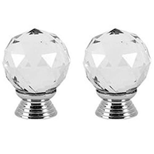 Creatwls 30mm Diamond Kristall Glas Knopf Rund Kristall Knopf Möbel Glas Knöpfe Türgriff Küche Schrank Schublade Möbel Griff Möbelknöpfe - 2 Stück -
