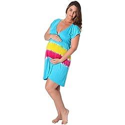 Ingear Maternity Women Tie Dye Cap Sleeve Dress Turquoise-Small/Medium