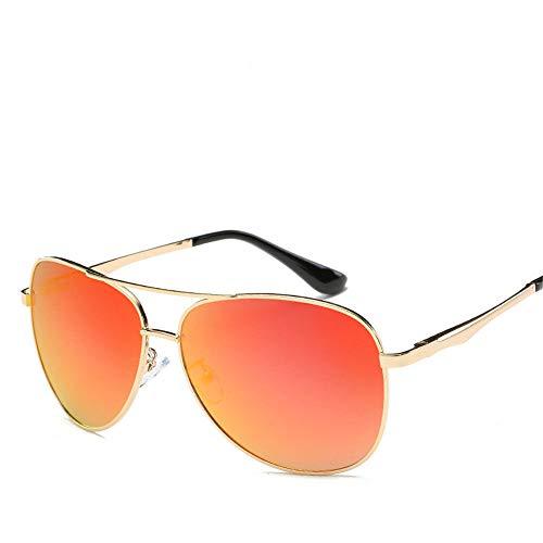 MJ Glasses Sonnenbrillen Polarisierter Retro-Froschspiegel-Pilotfarbfilm Metall, C