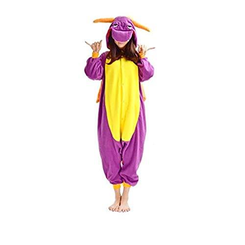 DarkCom - Disfraz de Animal Unisex para Adulto Sirve como Pijama o Cosplay Sleepsuit de una Pieza Dragón Púrpura