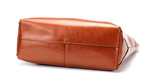Moda Pelle Bovina Tote per Donne le signore Genuino Tracolla in Pelle Della Borsa - Arancione, Versione Orizzontale Marrone, Versione Orizzontale