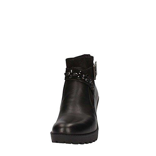 Botas De Tobillo Para Mujer Imac 83300 Tacón De Cremallera / Hebilla Negra De Cuero Genuino 8.5 Negro