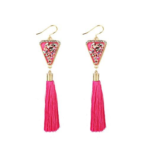 Fossrn Pendientes Mujer Flecos Largos Bohemios Rhinestones de estilo Aretes Joyería de moda Rosa