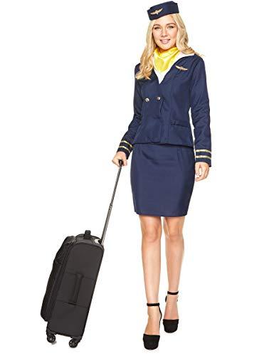 Generique - Stewardess Kostüm für Damen in blau XS (Stewardess Hut Weiß)