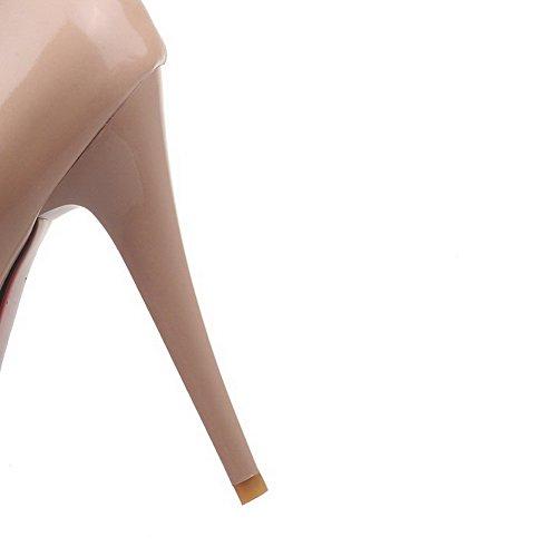 AgooLar Damen Lackleder Rund Zehe Hoher Absatz Ziehen Auf Rein Pumps Schuhe Aprikosen Farbe