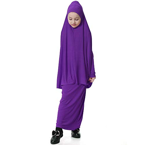 Amphia - Muslimischen Mädchen Fledermaus Hülse Robe Kleid Anzug,Kleinkind Kind Kind muslimische Mädchen Fledermaus Ärmel Bluse Top Langen Rock Outfits Set(Lila,M)