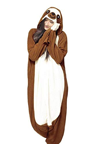 Memoryee Animal Cosplay Kostüm New Sloth Adult Pyjamas Plüschkostüm Idee/Braun/XL