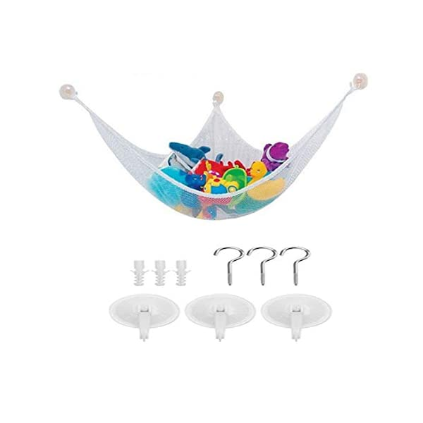 Toy Hammock Corner Stuffed Animal Toy Organiser Storage Net Multi-Purpose Nursery Organisers Large Hammock for Baby/Children's Bedroom Stuffed Animals, Plush Toys, Dolls, Teddies, Balls Qchomee ❤PERFECT STORAGE SOLUTION - Children's stuffed animals can easily take over their bed, bedroom, and playroom, parents need an easy storage solution. The Toy Hammock is a novel toy way to hold and organize kids' toys, pillows, stuffed animals, and other items, in an attractive way that becomes part of the décor. ❤EASY TO INSTALL - Includes 3 hooks to fit any corner, it can be attach to any kind of wall. The hook hardware included in the package to make it easy to install, uninstall and reinstall in any other space of your house if you feel like it. ❤FOR ANY ROOM - Suitable For Use as LAUNDRY, MUDROOM, POOL SIDE, GARAGE, SPORTS GEAR, DAYCARE or SCHOOL ROOM Corner Wall Organizer. You Can Hang Two or More Units at Different Heights Creating a Stackable Storage Shelf System That FACILITATES AIR CIRCULATION AND VENTILATION for Whatever Stuff You Choose to Store. 1
