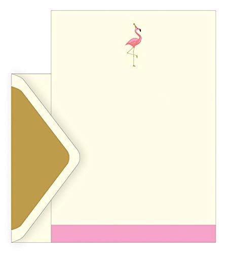 The art file boxed notecards–flamingo–set di 10fogli di carta intestata ,10mantenimento e 10buste oro in una scatola