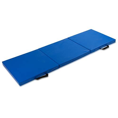 Navaris Colchoneta Plegable de Gimnasia - Esterilla Antideslizante con Asas para facilitar el Transporte y Almacenamiento - para Yoga, Pilates - Azul