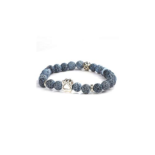 Awertaweyt Edelstein Perlen Armband Natural Stone Mala Bead Yoga Bracelet Pitbull Dog Hand Paw 8Mm Elastic Rope Bead Bracelet Fashion Men Women Jewelry ND5508 Size L 19-20cm