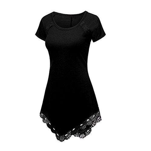 HARRYSTORE Asymmetrische Hem Bluse Plus Größe Sommer Damen Kurzarm Lace T-Shirt Lässige Unregelmäßige Bluse Shirt Tops (Schwarz, M) (Ribbed Tank Junioren)