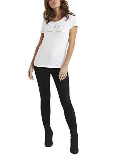 LIPSY Damen T-Shirt mit Logo M Weiß (Seide Team-logos)