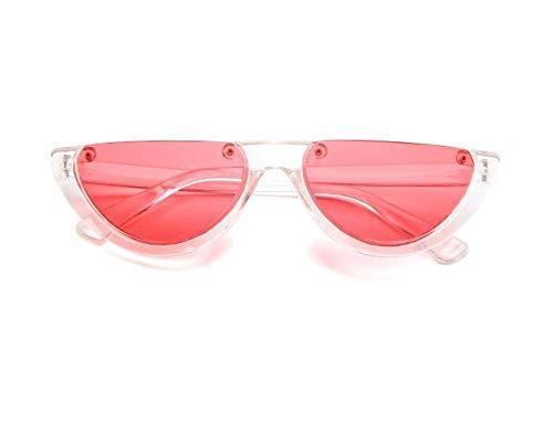 WSKPE Sonnenbrille,Cool Trendige Hälfte Frame Sonnenbrille Cat Eye Sonnenbrille Frauen Sonnenbrille Clear Frame,Rote Linse