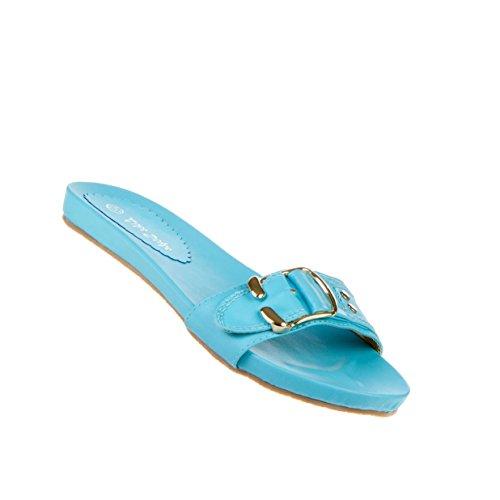 Damen Schuhe Sandalen Moderne Schnallen Deko Sandaletten Blau