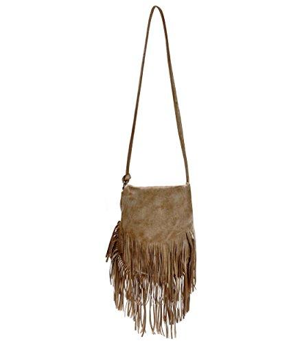 ZLYC Dip Dye Leder Umhängetasche mit langen Fransen im Böhmischen Style Handtasche Troddelbeutel Schultertasche (Damen Leder Fransen)