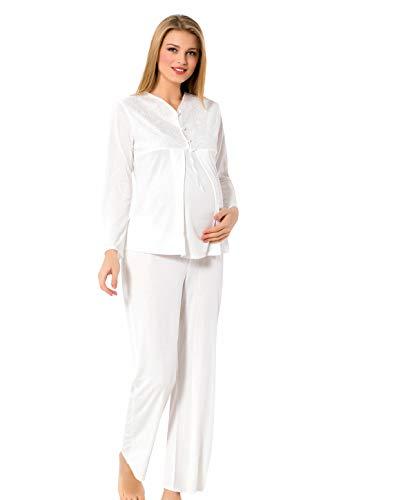 95bc14f80f Roseanne Damen Stillpyjama Stillnachthemd Pyjama/Schlafanzug lang für  Schwangerschaft und Stillzeit, Edler Nachthemd zum