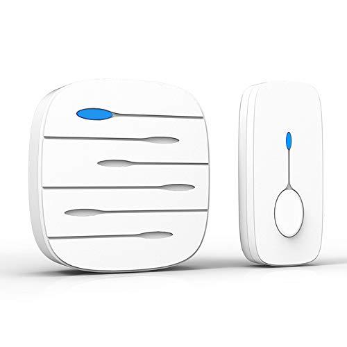 KYLINDRE Drahtlose Doorbell, wasserdichtes Tür-Chime Kit, Remote Door Bell Button, 58 Melodien, CD-Qualität Sound und LED Flash, Caregiver Pager SOS Alarm,1 Transmitter + 1 Receiver,White