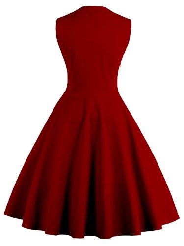 VKStar® Vintage 50er elegantes Abendkleid mit Knöpfe Rockabilly Swing Cocktailkleid Weinrot M - 2