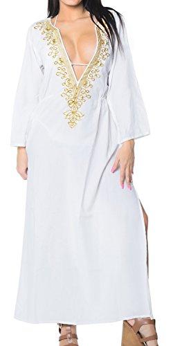 LA LEELA weichen, sanften Rayon tiefen Hals Bestickt Bekleidungs-Bikini-Vertuschung Weiß -