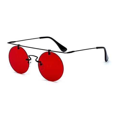 Männer Steampunk Runde Schlichte Rahmenlose Ultra leichte Sonnenbrille Street Retro Wind Brillen,B