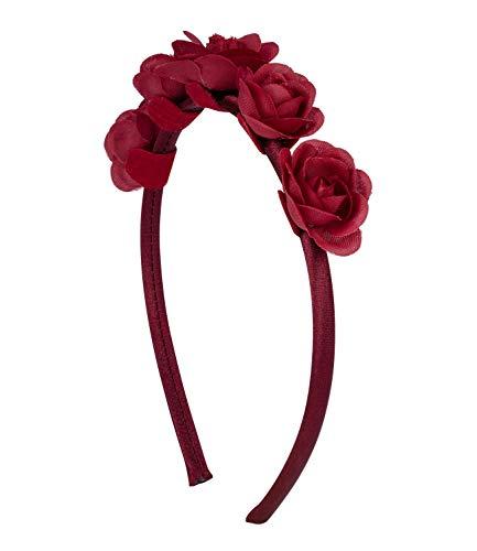 SIX Damen Haarreif, Kopfschmuck, Haarschmuck, Blüten-Schmuck, Rose, Blumen, bordeaux-rot (315-742)