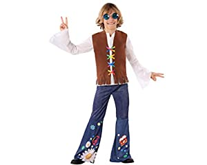 Atosa-60101 Atosa-60101-Disfraz Hippie-Infantil NIño, Color marrón, 3 a 4 años (60101