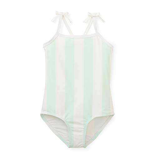 ec4d0e5702 Hope & Henry Girls' Aqua and White Striped Cross Back Swim Made with  Recycled Fibers