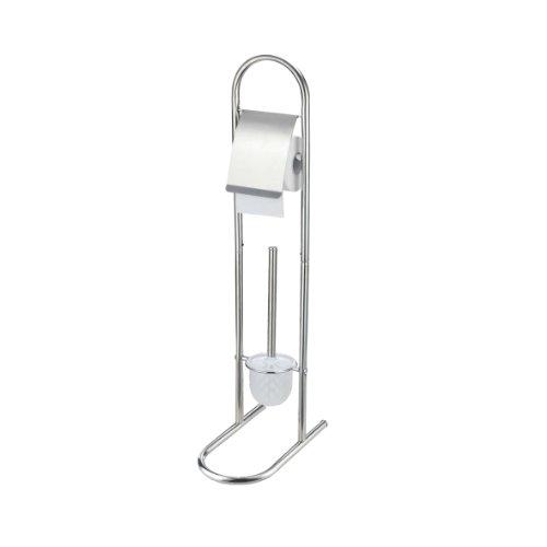 axentia WC-Garnitur Emil in Silber, WV-Bürstenhalter mit WC-Papierrollenhalter aus Eisen, rostfreies WC-Accessoire verchromt