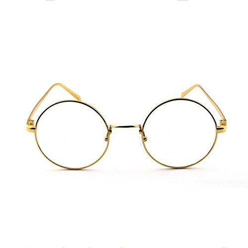 Z&YQ klar Linse Gläser Flieger Spiegel Myopie Metallrahmen dekorative Schutzbrillen , gold