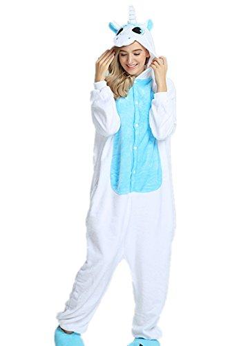 r Cartoon Einhorn Pyjama Overall Kostüm Sleepsuit Cosplay Animal Sleepwear für Kinder / Erwachsene (X-Large, Unicorn Blue) (Unicorn Hat)