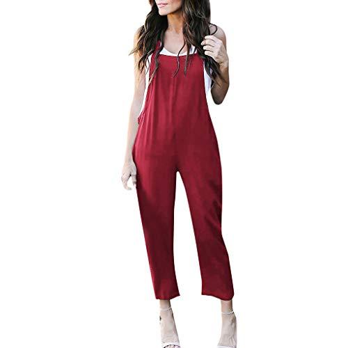 STRIR Mujer Petos Casual Pantalones Holgados Pierna Ancha Mono Vaqueros Pants (XXL, Rojo#0527)