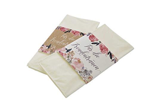 50 Stück Papierbanderolen Freudentränen Taschentücher Hochzeit Peony Kraftpapier-Look