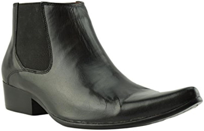 Paolo Vandini Negro Cuero Hombre Winklepicker Chelsea Botas Pointed Ankle Boot