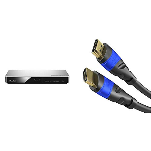 Panasonic DMP-BDT185EG 3D Blu-ray Player (4K Upscaling, DLNA, VoD, HDMI-Steuerung, USB, MKV-Playback) silber & KabelDirekt - 4K HDMI Kabel - 1,5m - kompatibel mit - TOP Series Panasonic Single