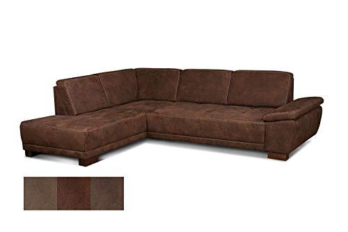 Cavadore Eckcouch Cytaro in Wildlederoptik und Kontrastnaht / Ottomane links / Sofa L-Form mit Sitztiefenverstellung / Größe: 281 x 84 x 218 cm (BxHxT) / Farbe: Dunkelbraun